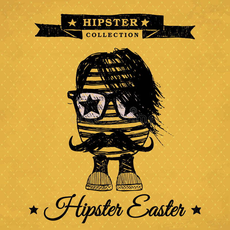Hipster Easter egg - vintage royalty free stock photos