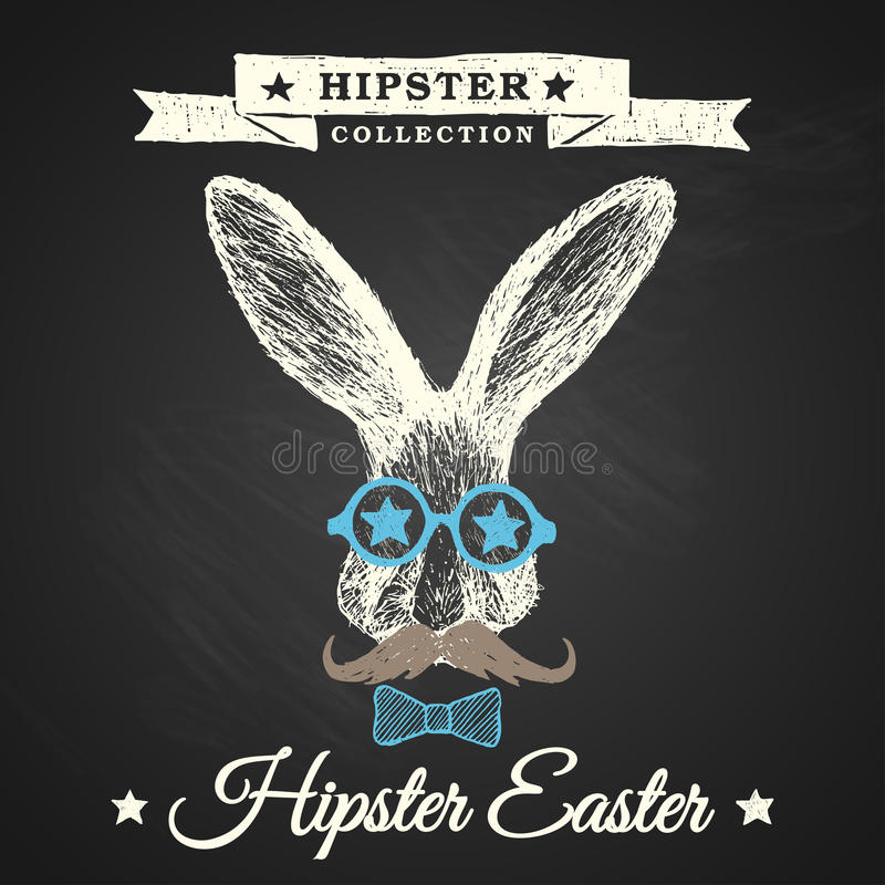 Hipster Easter poster with bunny. stock image