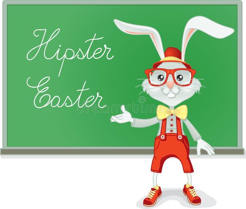 Hipster Easter Rabbit Teacher Vector Cartoon stock illustration