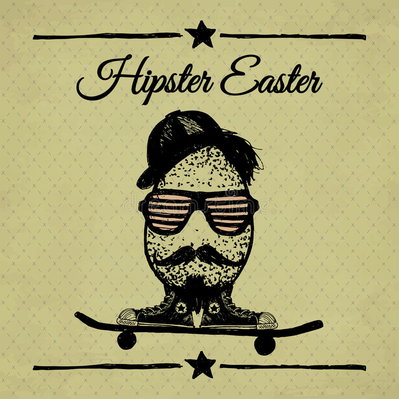 Hipster Easter vintage poster with egg on skateboard. royalty free stock image