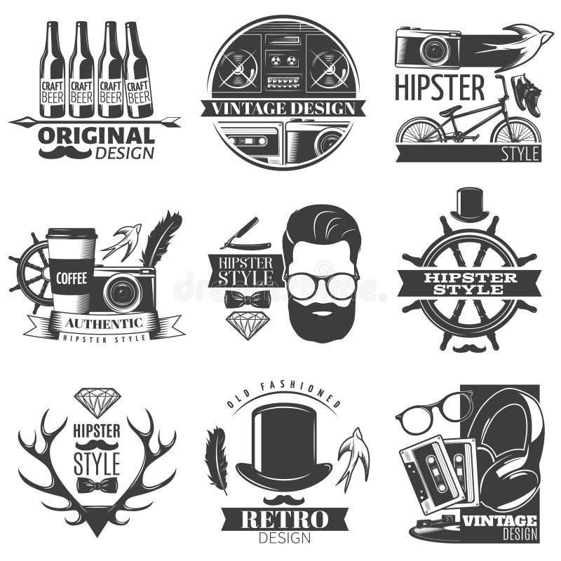 Hipster Emblem Set stock illustration