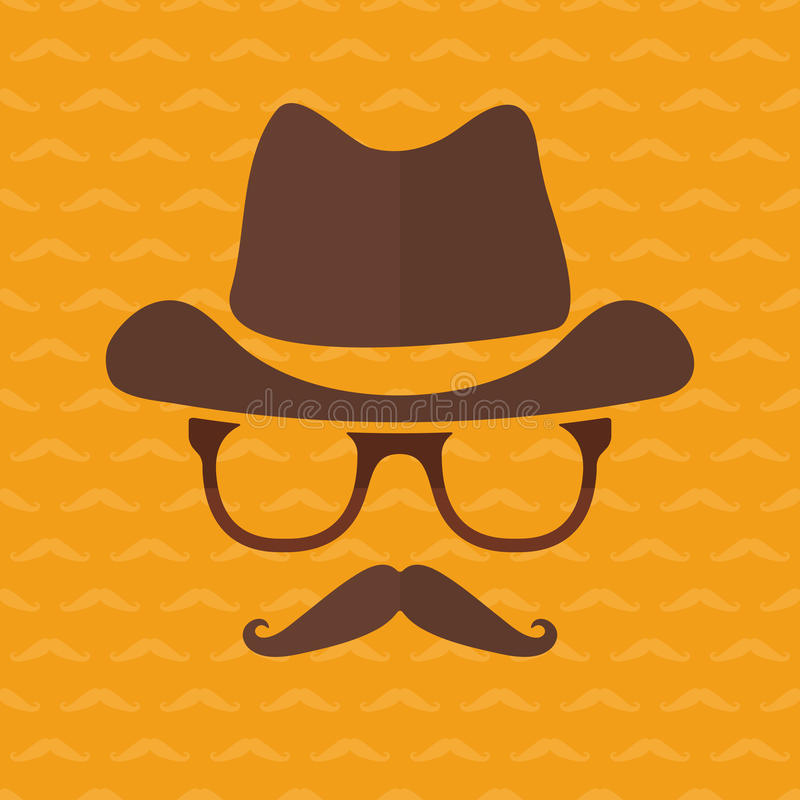 Hipster Face Silhouette In Flat Style Stock Vector Illustration Of Hipster Mustache 48742184