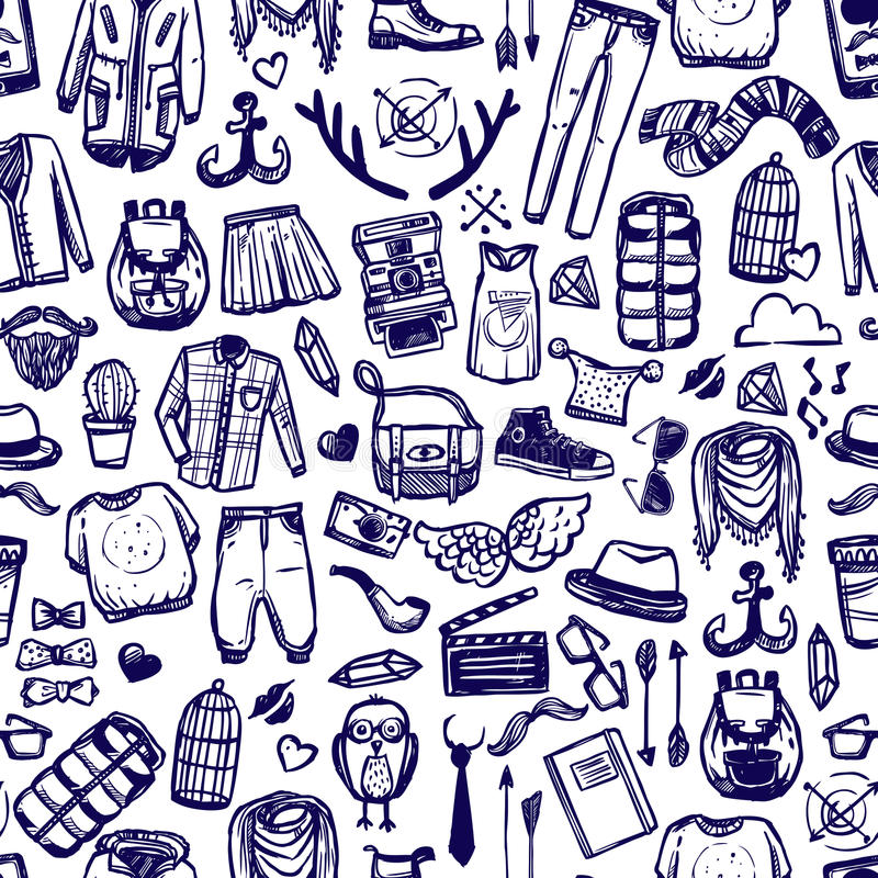 Hipster fashion clothing doodle seamless pattern stock illustration