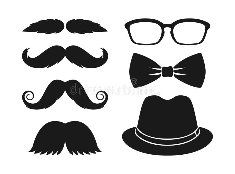 Hipster fashion set. Moustache, glasses, bowtie and hat. stock illustration