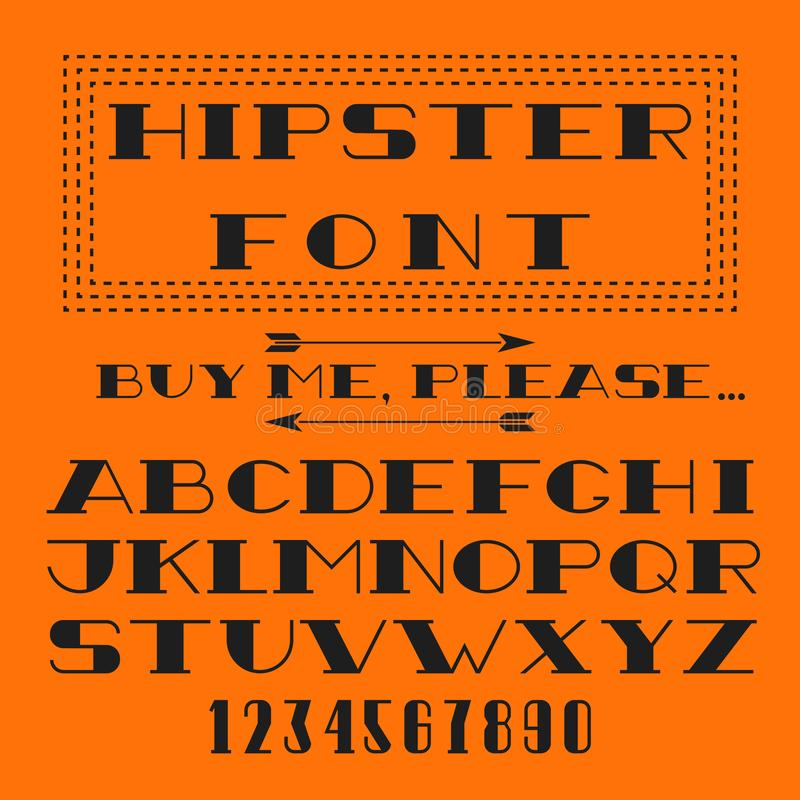 Hipster font vector alphabet and figure, typography type design elements for emblem, newspaper, magazine, book, poster royalty free illustration