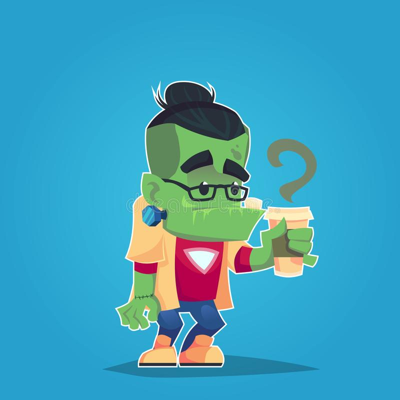 Hipster frankenstein met glazen en beeldverhaal van de de stickerillustratie van het koffie het grappige monster vector illustratie