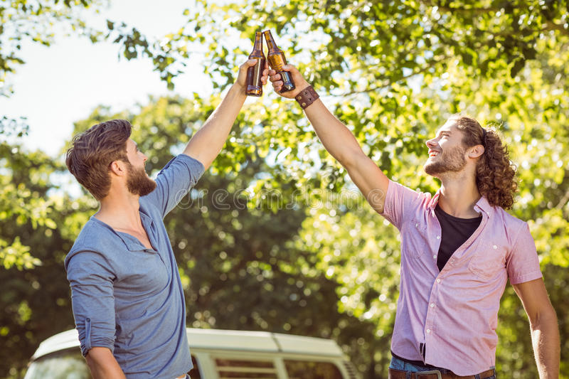Hipster friends toasting with beers. On a summers day royalty free stock image