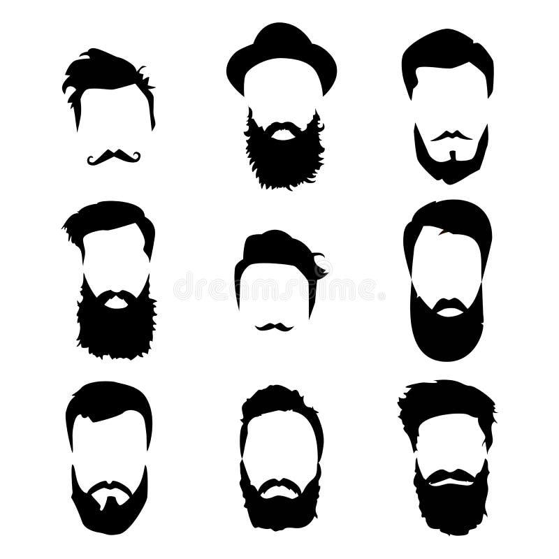 Hipster gedetailleerde geplaatst haar en baarden Manier gebaarde mens Lange baard met gezichtshaar Baard op wit wordt geïsoleerd  royalty-vrije illustratie