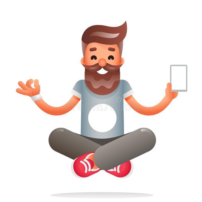 Hipster geek meditate νέα smartphone κινητή apps τεχνολογίας Διαφωτισμού διανυσματική απεικόνιση σχεδίου χαρακτήρα επίπεδη ελεύθερη απεικόνιση δικαιώματος