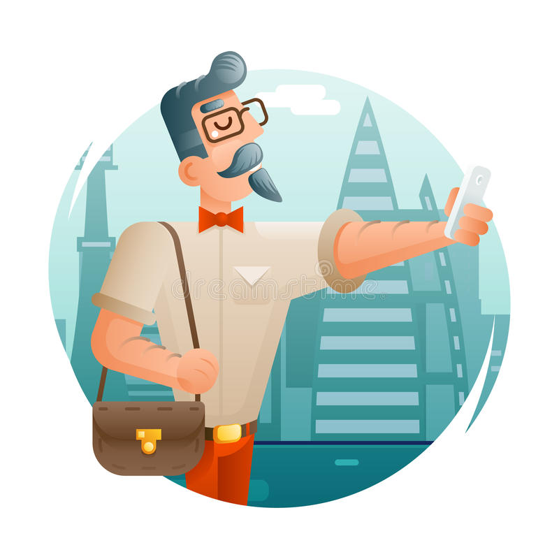 Hipster Geek Mobile Phone Selfie Businessman Cartoon Character Icon City Background Flat Design Vector Illustration. Hipster Geek Mobile Phone Cartoon Selfie vector illustration