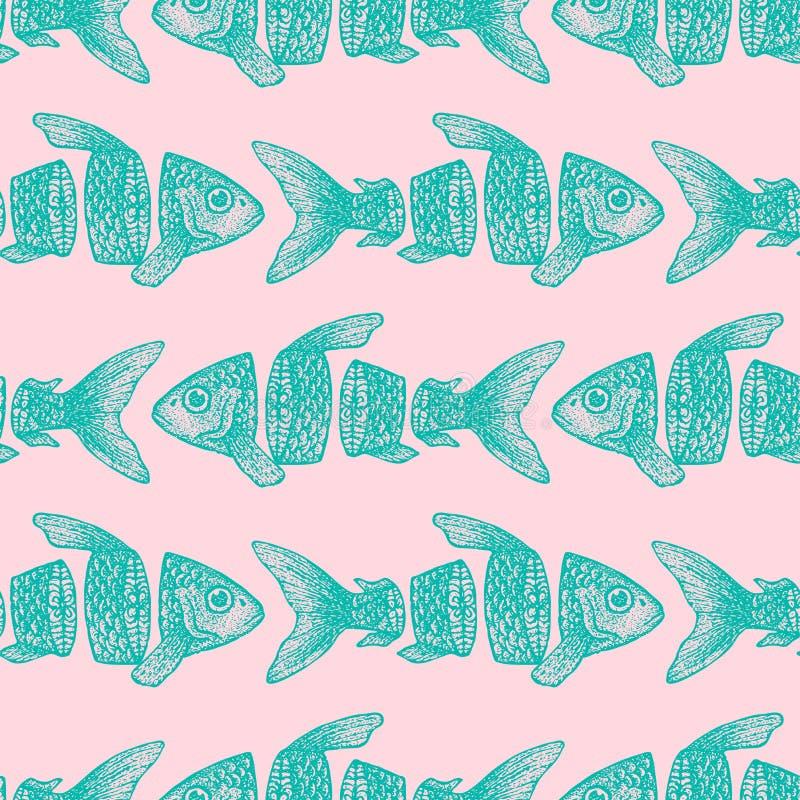 Hipster Gesneden Vissen Naadloos Patroon royalty-vrije illustratie