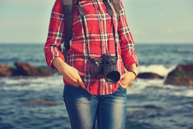 Hipster girl with camera stock photo
