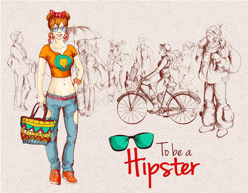 Hipster girl crowd stock illustration