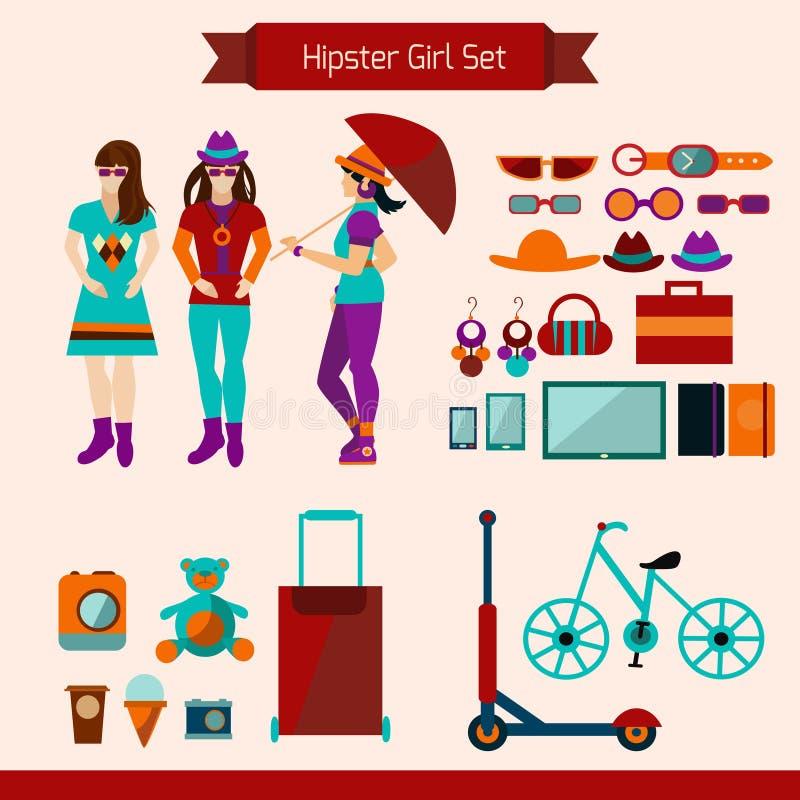 Hipster Girl Set royalty free illustration