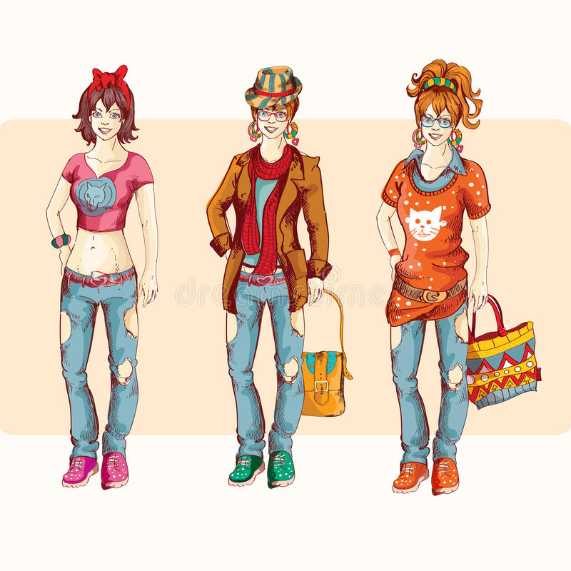 Hipster girl set. Hipster urban fashion trendy young girls colored sketch character set vector illustration royalty free illustration