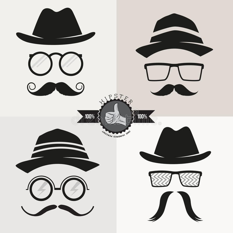 Hipster Glasses, Hats & Mustaches royalty free illustration