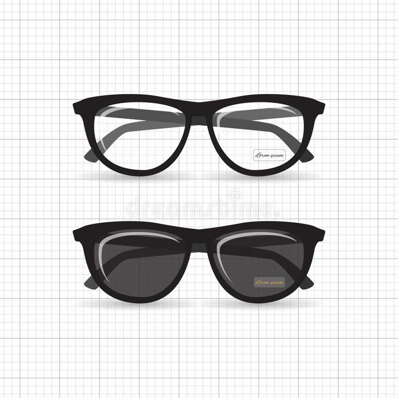 Hipster glasses. A set of stylish hipster sunglasses and reading glasses. Retro specs for style with highlights and a label of the designer`s name stock illustration