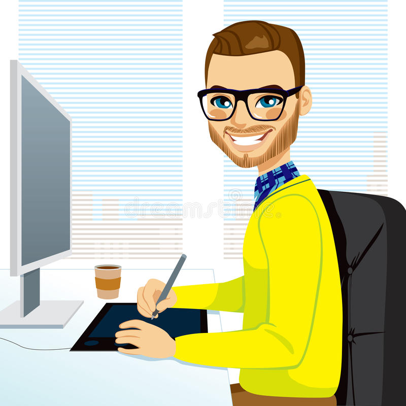Hipster Graphic Designer Man Working Stock Vector Illustration Of Coffee Using 38642016