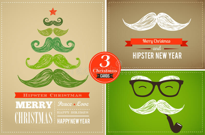 Hipster greeting cards Merry Christmas stock illustration