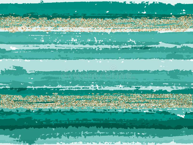 Hipster grunge texture brush stroke stripes with gold glitter sparkles vector seamless pattern background. royalty free illustration