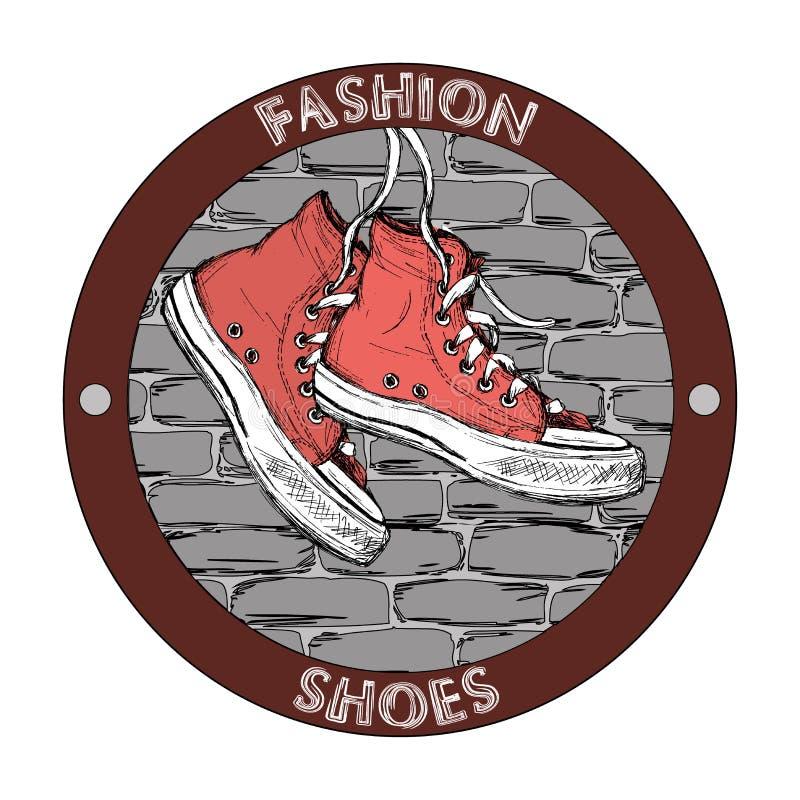 Hipster gumshoe embleem Malplaatje van het Grunge het vectorontwerp Schoenpictogram vector illustratie