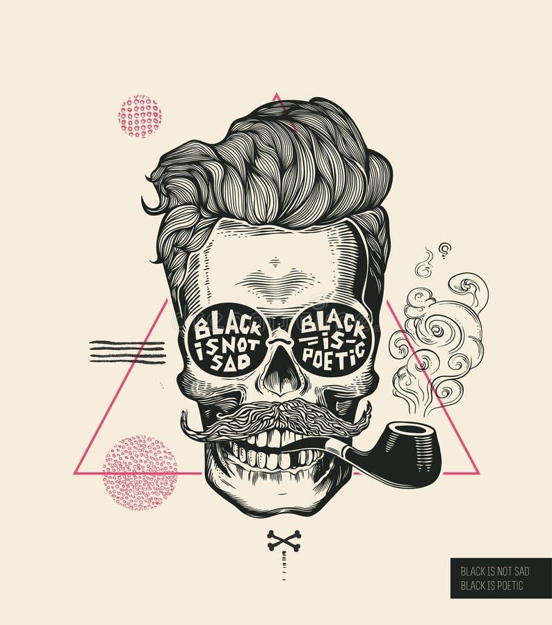 Hipster Hair Skull Smoke Pipe Vector Poster Print. Modern Mustache Skeleton Face Portrait in Sunglasses. Urban stock illustration
