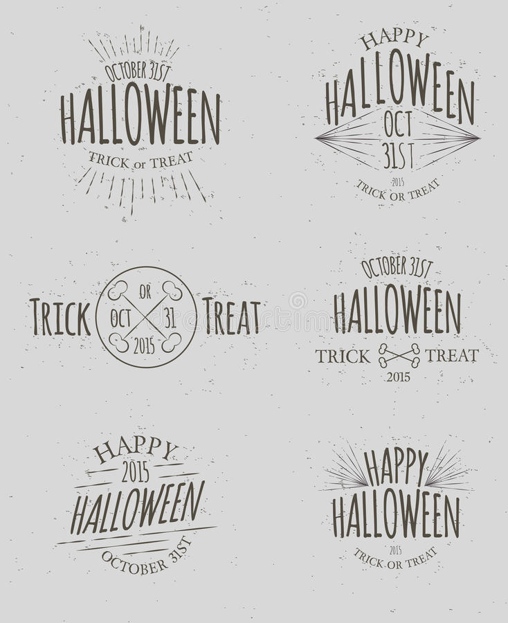 Hipster Halloween Insignias. Set of Vintage Hand Drawn Hipster Halloween Icons royalty free illustration