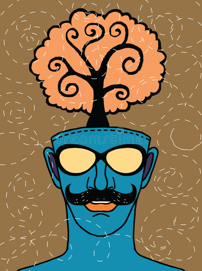 Hipster hand drawn human head with tree stock illustration