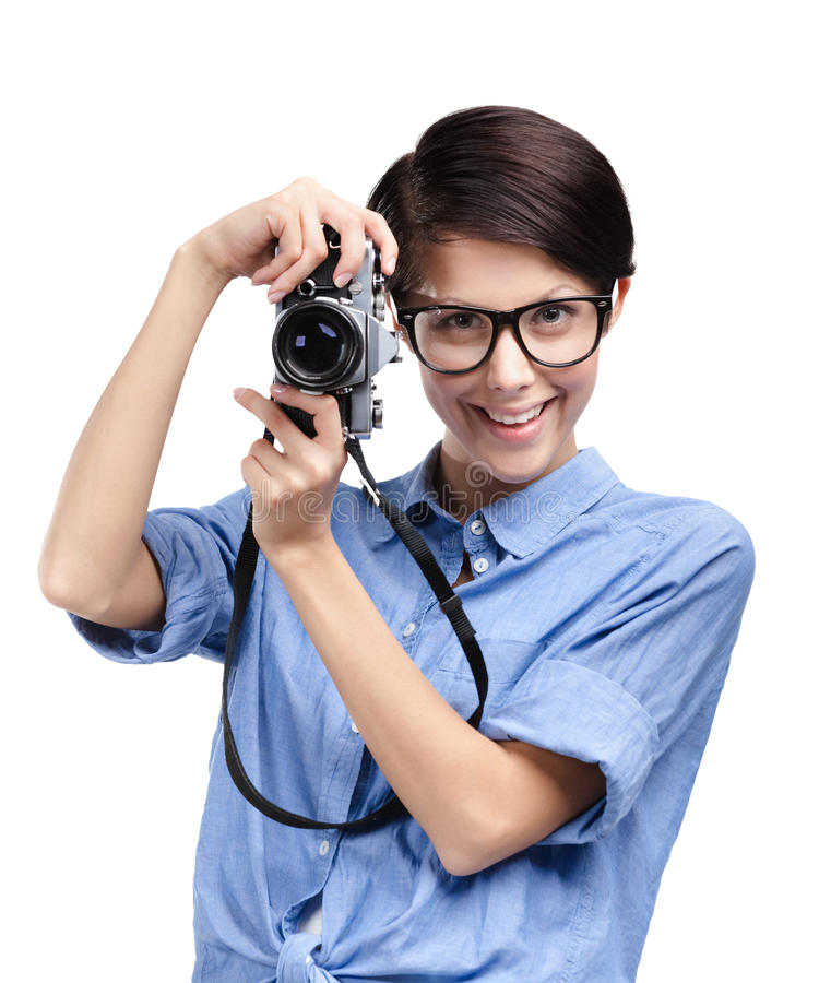 Download Hipster Hands Retro Photographic Camera Stock Photo - Image: 26323396