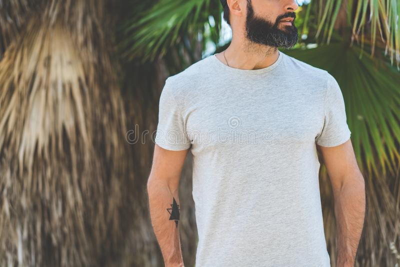 Hipster handsome male model with beard wearing gray blank t-shirt and a black snapback cap with space for your logo or. Design in casual urban style.Green palm royalty free stock photos