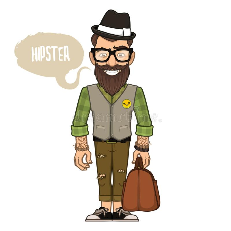 Hipster in a hat and glasses royalty free stock photography