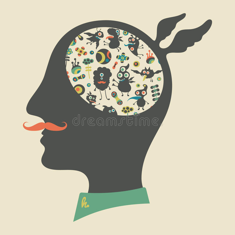 Hipster head with thoughts about happy monsters. stock illustration