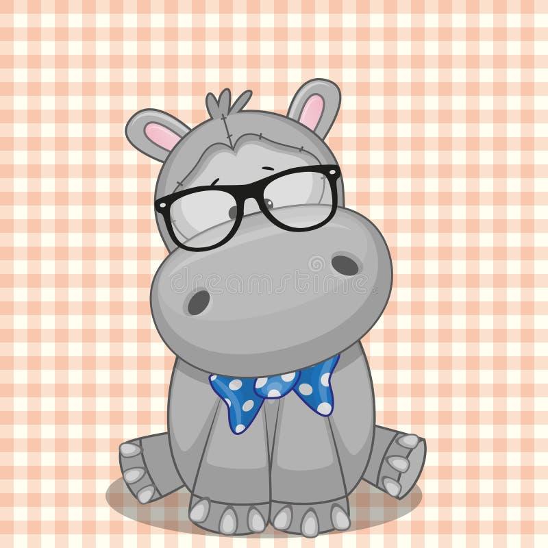 Hipster Hippo royalty-vrije illustratie