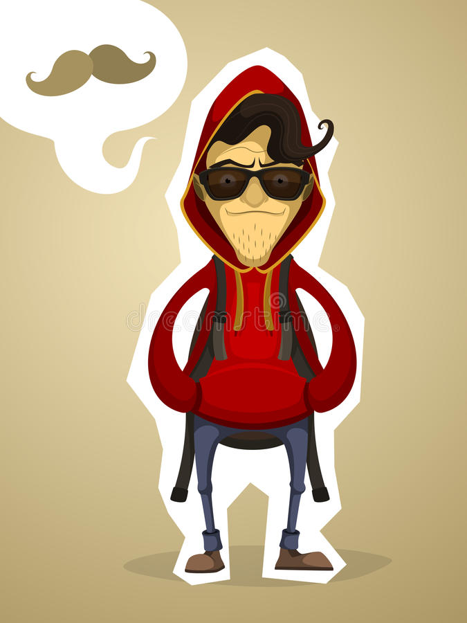 Hipster in the hood and with backpack vector illustration