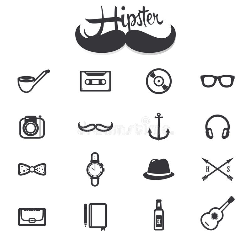 Hipster icons royalty free illustration