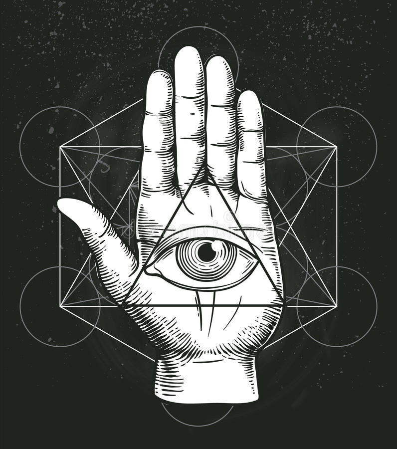 Hipster illustration with sacred geometry, hand, and all seeing eye symbol inside triangle pyramid. Masonic symbol. stock illustration
