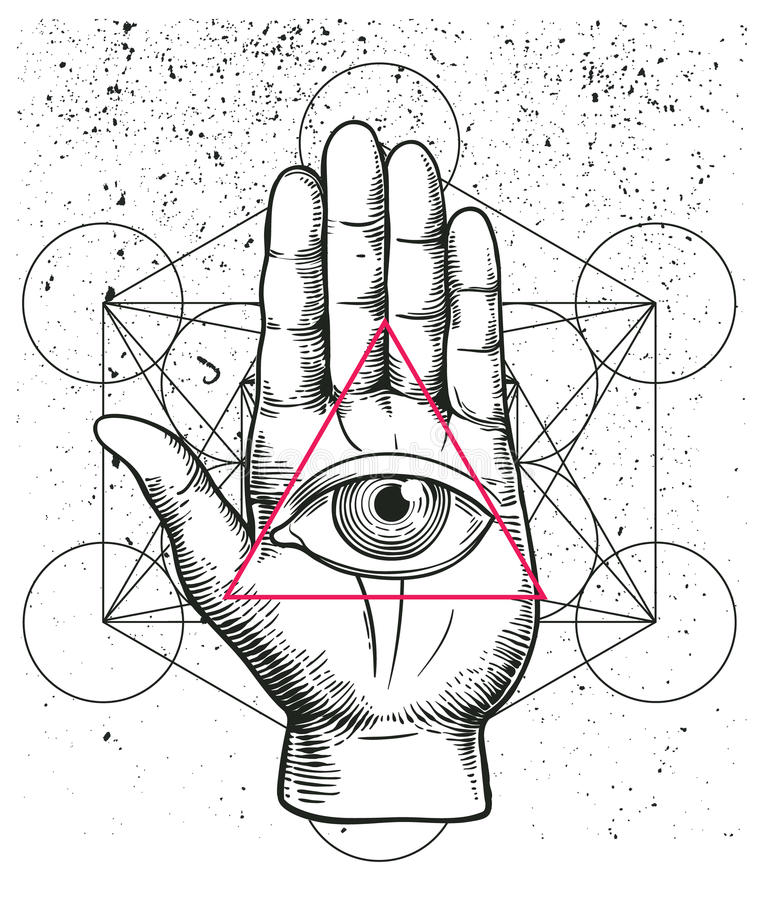 Hipster Illustration With Sacred Geometry Hand And All Seeing Eye