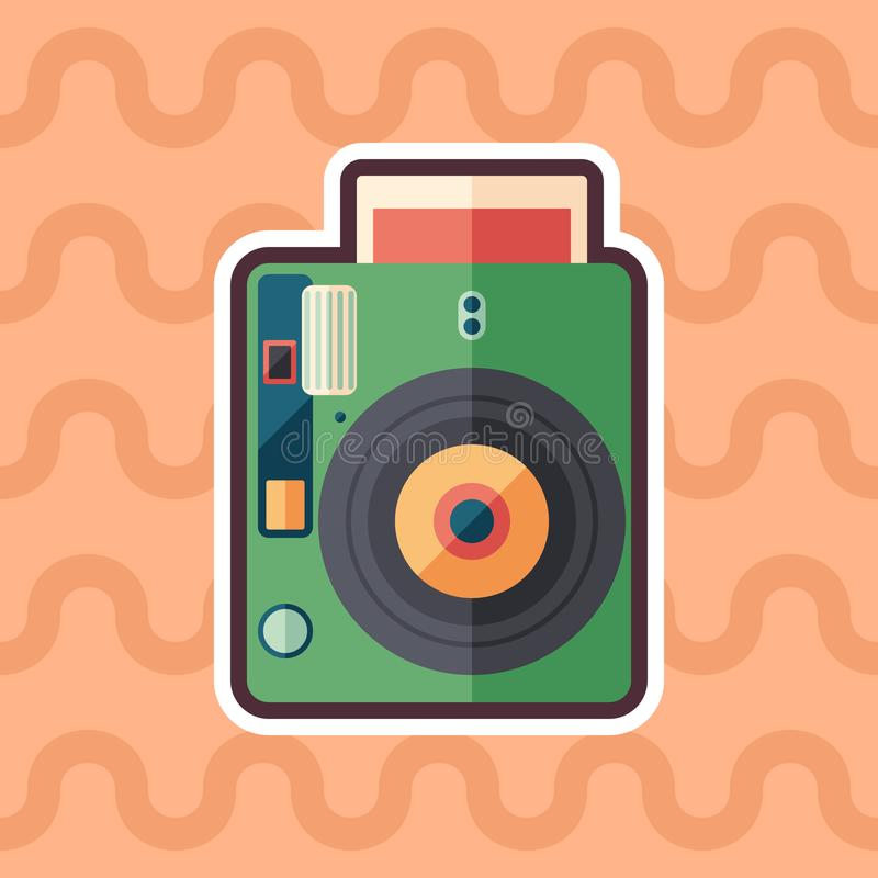 Hipster instant camera sticker flat icon with color background. royalty free illustration