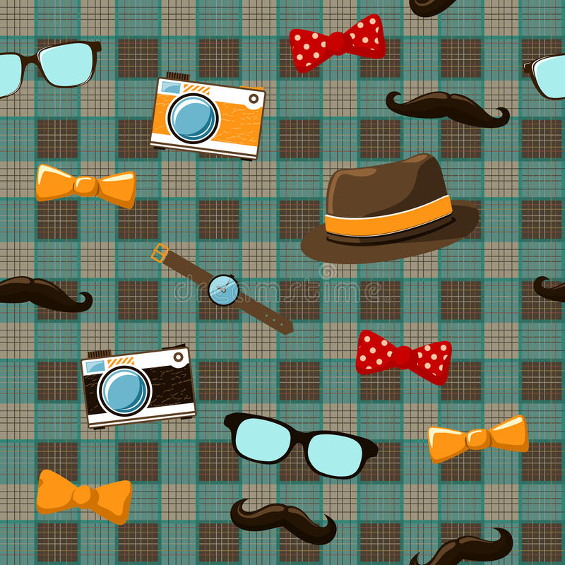 Hipster items on seamless tablecloth vector illustration