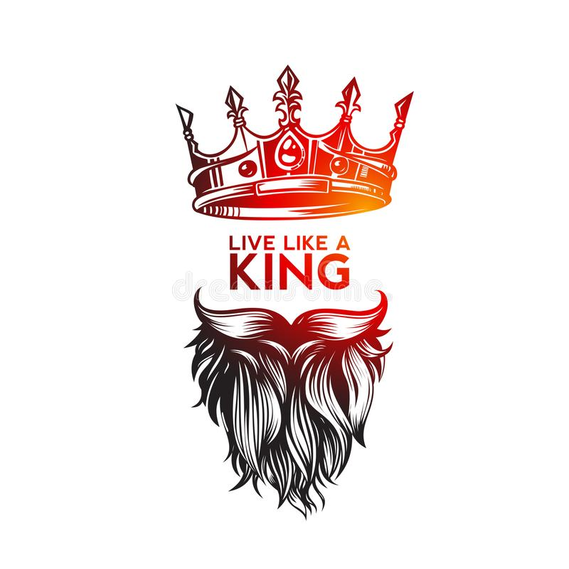 Hipster king icon with crown, hand sketch vector illustration design. vector illustration