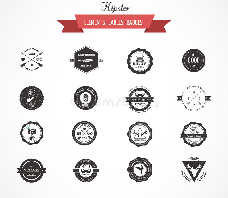 Hipster lables, badges and elements