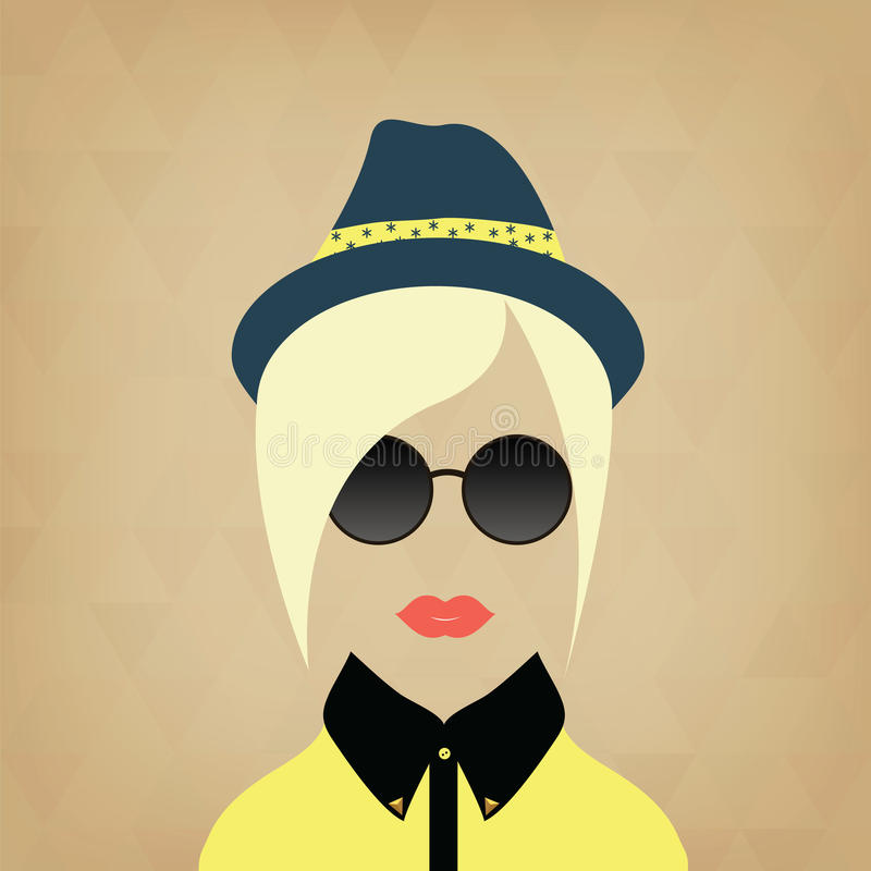 Hipster lady. Accessories hat, sunglasses, collar. vector illustration
