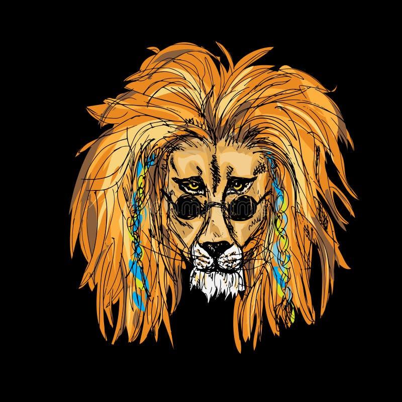 Hipster Lion Color vektor illustrationer