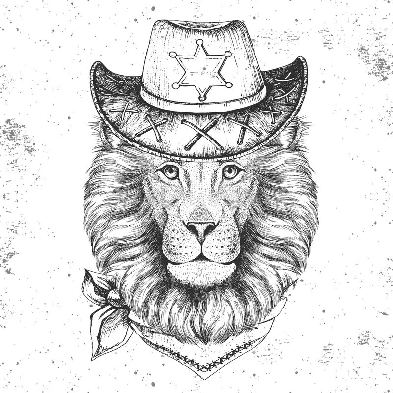 Hipster animal lion. Hand drawing Muzzle of lion. Hipster lion. Hand drawing Muzzle of lion stock illustration