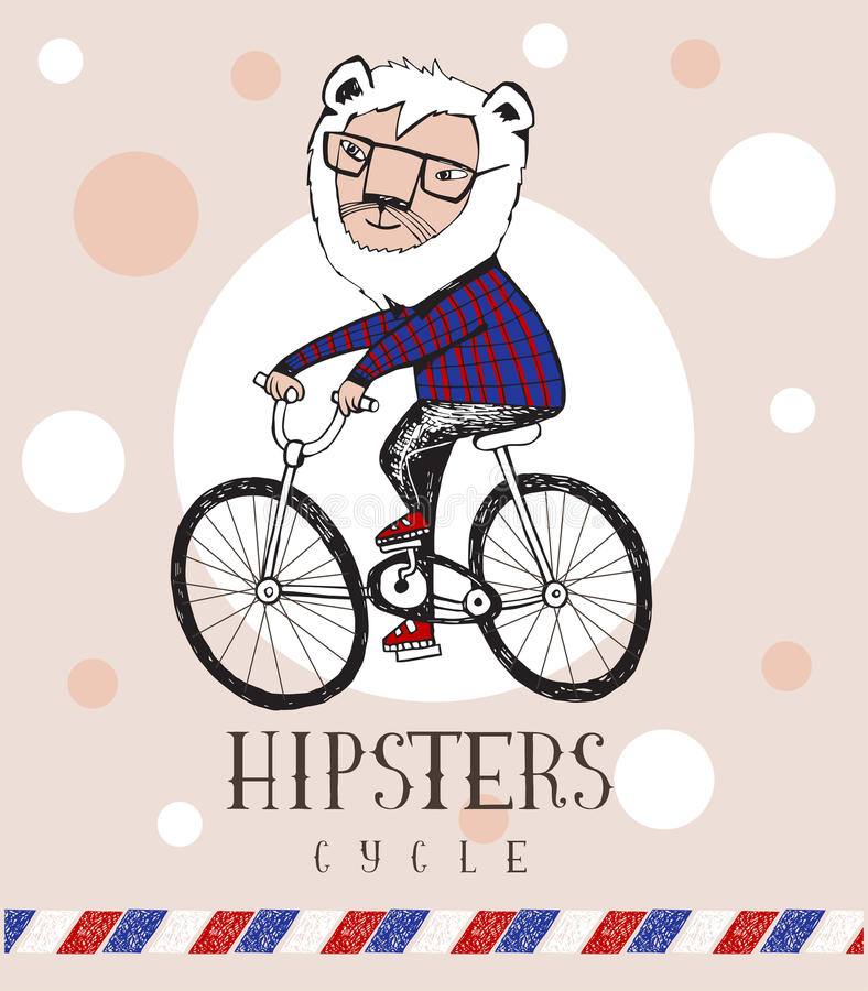 Hipster lion riding by bicycle. Vector illustration, all elements separated royalty free illustration