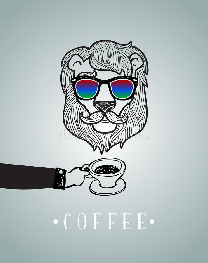 Hipster lion wearing spectacles. Hipster lion with coffee cup vector illustration, all elements separated stock illustration