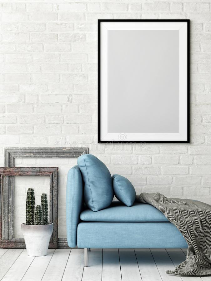 Hipster Living room concept with mock up poster, white brick wall and blue sofa,. 3d illustration royalty free illustration