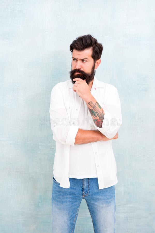 Hipster long beard and mustache. Simple and casual. Casual style daily life. Summer season fashion trend. Male temper. Brutality. Brutal macho casual outfit stock photo