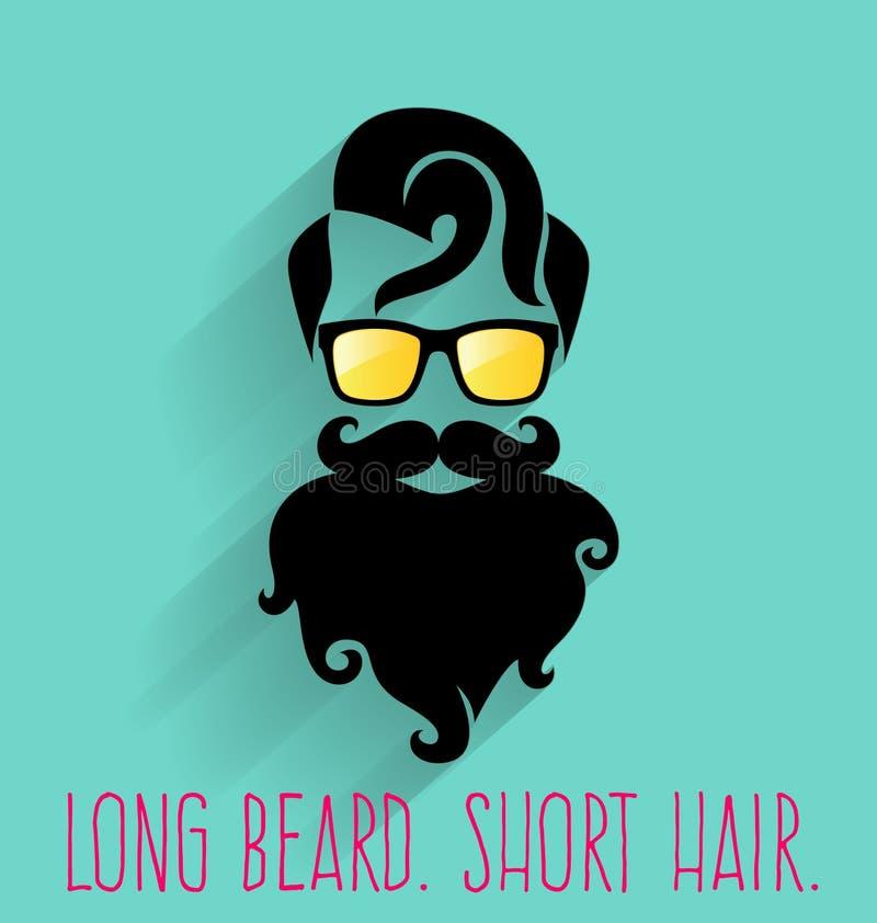 Hipster. Long Beard. Short Hair vector illustration