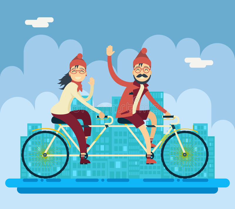 Hipster Male Female Characters Riding Companion royalty free illustration
